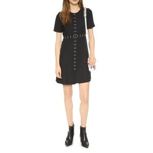 Kooples Crepe Mini Dress with Ring Details